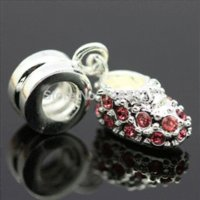 baby shoe necklace - Red Crystal Baby Shoes Pendant Sterling Silver Charms Beads For Charms DIY Snake Chain Braceles Jewelry