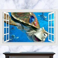 adventure decal - 3D Windows Generic Undersea Adventure turtle Wall Decal Decor Sticker kindergarten living room vinyl Inspiration art