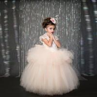 arco light - 2016 Nuevo O cuello de Encaje Bata de Pelota Vestidos para Niña con el Arco de Tulle Piso Longitud Del Desfile de Las Muchachas Vestido de P