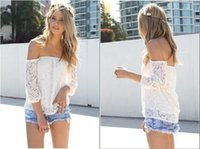 Wholesale sexy lace shirt casual sweet white color hollow out woman tops clothing summer runway fashion clothes knitwear s xl Promotion Hot Sale