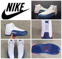 Wholesale Nike air jordan Retro French Blue men Basketball Sport Shoes Nike dan GS Valentine s Day Retro jordans XII AJ12 GS size
