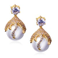 Wholesale Women s Pearl Drop Earrings Clear CZ Lead Free Big Drop Fashion Earring Gold Platinum Plated Silver Pins Anti Allergic