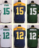 aaron shipping - 2016 New Men s Bart Starr Aaron Rodgers White Blue Green Top Quality jerseys Drop Shipping