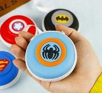 batman business card - Cute Cartoon Superhero Captain America batman Round Zip Earphone Cable Earbuds SD Card Carrying Bag Key Coins Case Pouch Purse Wallet