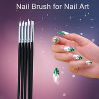 Wholesale 5Pcs Set Painting Nail Brush Set Silica Gel UV Gel Carving Nail Art Dotting Pen Make Patterns Nail Art Brush Manicure Tool