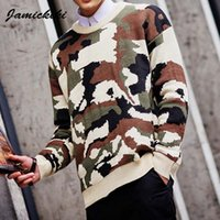 Wholesale Jamickiki Brand Autumn Pullover Men O neck Long Sleeve Sweater Hombre Knit Cashmere Blusas Camo Printing Men s Clothing