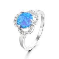 Cheap Round Shape Blue Opal Ring Wedding & Engagement Ring Clear Swarovski Crystal Silver 925 Fit Fashion Women & Girl Jewelry No50 lw FR354