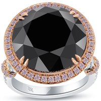 Wholesale 17 Ct Certified Black Diamond Engagement Ring Pave Halo k Rose White Gold