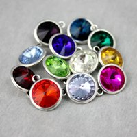 Wholesale Fashion Colors Birthstone Pendant Charm Fit DIY Alex and Ani Bangle Bracelet Alloy Bangle Silver plated Gifts Dubai Women