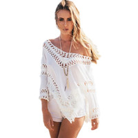 bathing suit coverup - Summer sexy white blouse crochet beach cover up swimsuit coverup women beach tassel cover up swimwear bikini bathing suit shirt