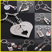 Alloy animal crossing keychains - In business styles available Fashion keychain pendants Silver Plated Kiss Love Heart Couple Key Ring Keychain Llaveros Comb Scissor