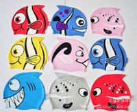 Wholesale High quality Cartoon Fish swimming cap For Baby Girls Boy silicone candy colors swimming cap Hot selling