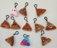 Wholesale 2016 New fashion cm Poop Emoji Smiley keychains cute cartoon plush pendant car key chain styles