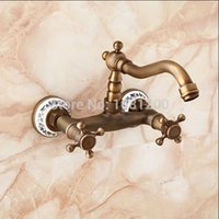 antique taps - Blue White Porcelain In Wall Swivel Kitchen Faucet Antique Brass Handles Mixer Tap HJ