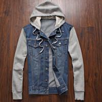 achat en gros de jean à capuche-Veste en jean hommes sportswear à capuchon Outdoors Casual fashion Jeans Vestes Hoodies Cowboy Mens Veste et Coat Plus Size 4XL 5XL