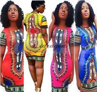Wholesale Summer Dress Bohemian Fashion Women Traditional Print African Dashiki Bodycon Dress Sexy Short Sleeve Slim Dress Plus Size Z197