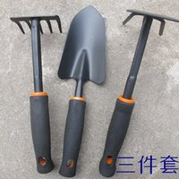 Wholesale Queen gardening tools shovel rake hoe dual integrated steel black vinyl handle garden supplies