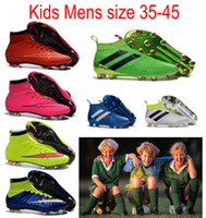 ace day - 2016 Kids mens Mercurial Superfly CR7 Football boots for Children Boys Soccer Cleats Outdoor nolace Ace purecontrol soccer boots