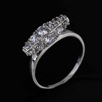 Wholesale 10Pcs Newest Genuine Platinum Plated Zircon Ring Crystals Engagement Rings Unisex Women Fashion Jewelry