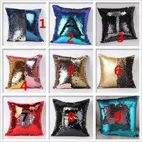 cushion - New Qualified Cushion Cover New Kinds Double Color Glitter Sequins Throw Pillow Case Cafe Home Decor Cushion Covers
