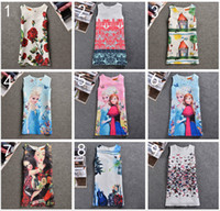 Wholesale 9 Design Girl Frozen Elsa Anna Princess butterfly Dress DHL Children Cartoon Print sleeveless vest Dresses baby Clothing B001
