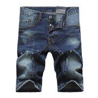 Cheap Wholesale-New Summer Denim Short Jeans Men,Quality Patchworks Men's Jeans Shorts,Famous Brand Hole Ripped Short Jeans,Large Size