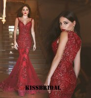 back drop - Sexy Burgundy Mermaid Prom Dresses Beaded Lace Sequins Arabic Evening Gowns V Neck Sequined Covered Back Formal Celebrity Gowns