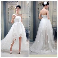 adorn beach shorts - Strapless Tulle High Low Wedding Dresses Summer Hi Lo Flowers Adorned Bridal Gowns Short Sexy Bridal Dress