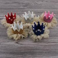 Wholesale 50pcs colors Newborn D Felt Baby Crown Mesh Flower For Girls Hair Accessories Glitter Felt Crown For First Birthday Hat