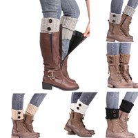 beauty free boots - 2016 Women Winter Button Crochet Knitted Boot Socks Cuffs Beauty Decors Sock Promotional Gifts leg warmers for women DHL