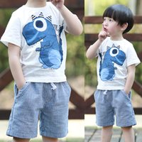 baby dinosaur outfit - Baby Summer New Cute Little Dinosaur Short Sleeve Pants outfit Children Sets Baby Clothing T E1153