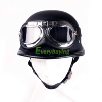 Wholesale Fashion WWII Style German Motorcycle Half Helmet Chopper Biker Pilot Goggles goggle helmet motorcycle full face