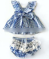 Wholesale Baby girls jumpsuit summer toddler kids fly sleeve plaid falbala romper children Lace Princess Ruffles Tops babies clothes A8267