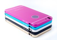 Wholesale Queeni For Iphone g s Metal Frame Silm Armor Case For Iphone Cell Phone Bumper Case With Opp Package