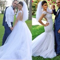 abito da sposa - Hot White Cap Sleeve Mermaid Wedding Dresses abito da sposa V Neck Sheer Back Applique Tulle Bridal Gown