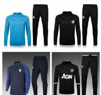 Wholesale France United Manchester City MANS soccer tracksuit kun Aguero Stirling Survetement skinny pants Chandal futbol sweatshirt train