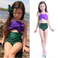 Wholesale 2016 kids bowknot bikini set fish scale high waist mermaid swimsuit children bathing suit for baby girls swimwear S XL Y01