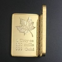 bars canada - 5 one Troy OZ Canada maple leaf gold plated bullion Bar metal souvenir coins