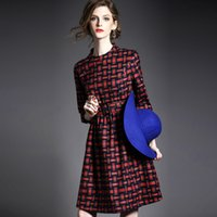 Wholesale The new British pattern in the long section of temperament slim waist was thin backing Plaid Dress female