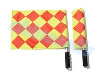 Wholesale 1pairs stainless steel Soccer Referee Flag with Bag Football Judge Sideline Sports Match soccer Linesman Flags Referee