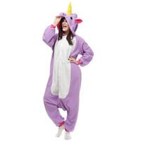 adult onesies unicorn - AC061 In Stock Purple Unicorn Cartoon Cosplay Party Costumes Comfy Leisure Animal Onesies Pajamas Jumpsuit Teens Adults Homewear Cheap Sale