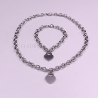 Wholesale 1set women s cool stainless steel oval chain with heart charm necklace bracelet