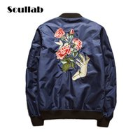 Wholesale special flower embroider high quality chic mens male fashion casual coats ma1 bomber jacket urban summer spring army green