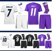 adult socks - 2016 Real Madrid home Away MANS adult kits with socks jerseys with patch RealES Madrid RONALDO BENZEMA JAMES BALE shirt