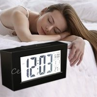 big clock display - Black Snooze Electronic Alarm Clock with Thermometer LED Backlight Big numbers Digital Clock Large LCD Display With Calendar