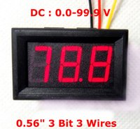 Wholesale New arrival Car Motor Motorcycle voltmeter DC V quot Digital Voltage Meter Bits LED red display with three wires