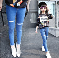 Wholesale 2016 hot sale fashion hole jeans pencil skinny pants for children girls autumn kids clothes T