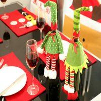 Wholesale Christmas Bottle Cover Wine Bottle Decoration Noel Elven Wine Bag Champagne Wine Bags Carrossel Decoration Christmas Ornaments Supplies