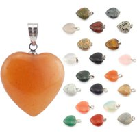 agate gemstone necklace - Retro Pendants For Women Natural Crystal Stone Gemstone Heart Shape Pendant Water Love Gemstone Pendants