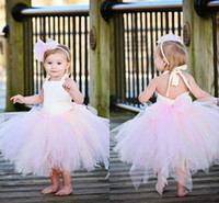baby girls first christmas dress - White and Pink Puffy Tulle Flower Girls Dresses Cheap Baby Girls Casual Tutu Skirts Toddler Party Ball Gowns First Communion Dresses MC0212